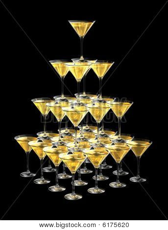 3D Pyramid Of Champagne Glasses