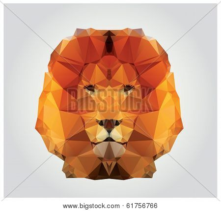 Geometric polygon lion head, triangle pattern, vector illustration