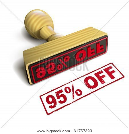 Stamp 95% Off With Red Text On White
