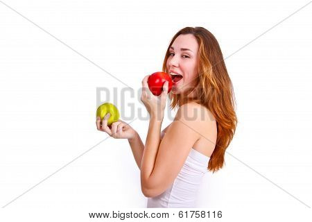 Attractive Girl Eating Apples On A White Background