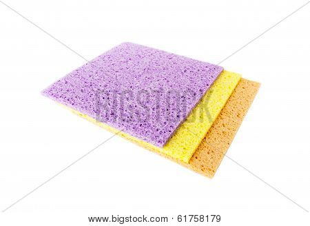 Three Cellulose sponge cloth isolated on white background.