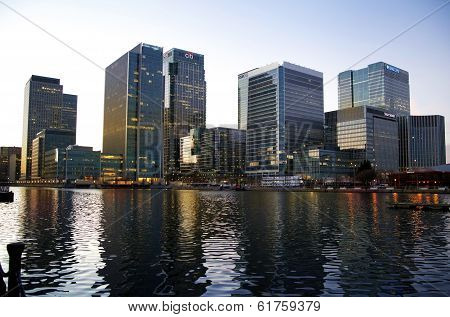 LONDON, CANARY WHARF UK - MARCH 16, 2014: Canary Wharf business district opening new office tower (s
