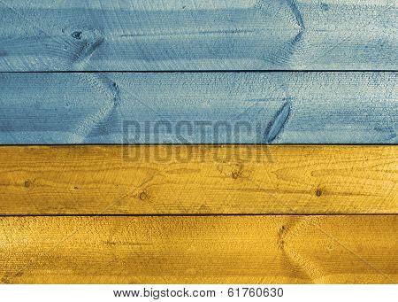 Wooden Planks Ukrainian Flag Colors