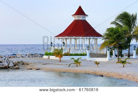 View of gazebo on the beach for weddings
