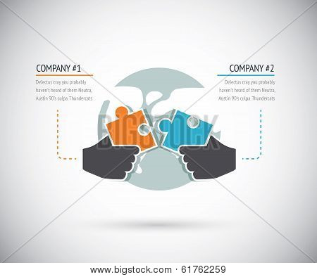 Puzzle pieces connecting with two businesses for cooperation. Infographic vector concept.