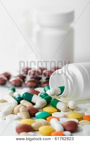 composition of the tablets. studio photography.