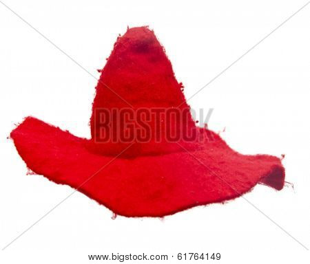 Red spiky hat of magician or witch isolated on the white background