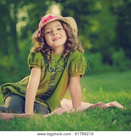 beauty girl on grass outdoors