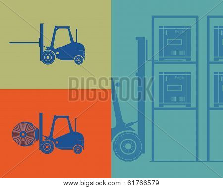Silhouettes Of Forklifts. Forklift Loading Goods