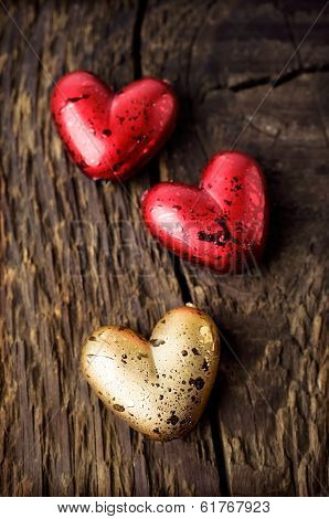 Decorative Red And Gold Hearts
