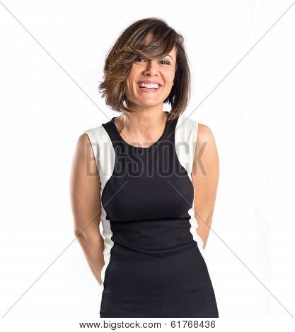 Happy Pretty Woman Smiling Over White Background
