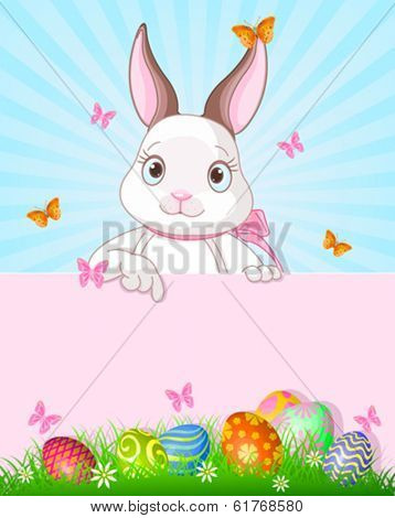 Cute cartoon bunny peeking round from behind a sign and pointing down