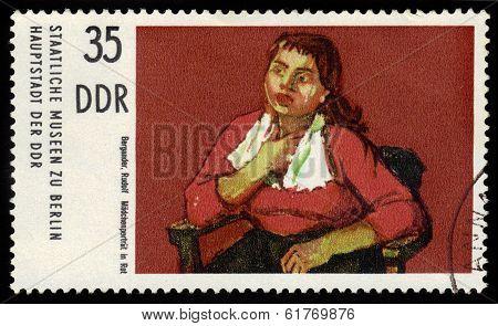 Portrait Girl In Red, Painted By Rudolf Bergander