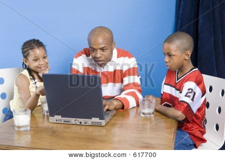Happy Family With PC