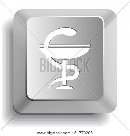 Pharma symbol. Computer key. Raster illustration.