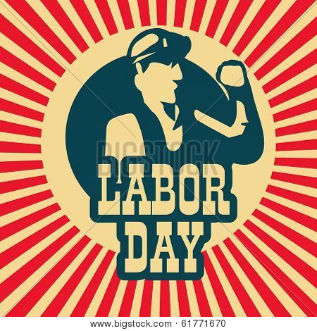 Poster, banner or flyer design with illustration of a man and stylish text Labor Day on vintage background.