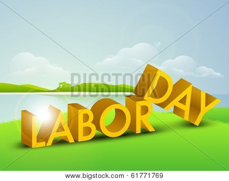 World labor day concept with shiny yellow text Labor Day on nature background.