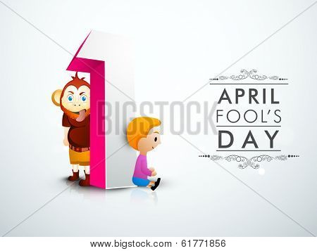 April Fools Day funky concept with numeric text one and illustration of monkey, and cute little boy.