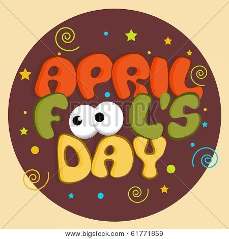 April Fools Day funky concept with stylish funky text on colorful abstract background.
