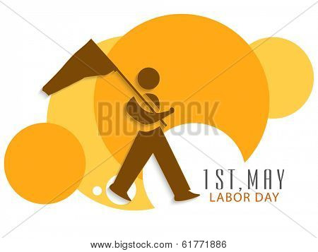 World Labor Day concept with illustration of a man holding flag on beautiful abstract background, can be use as poster, banner or flyer.
