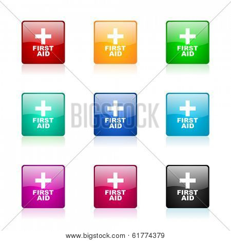 first aid web icons set