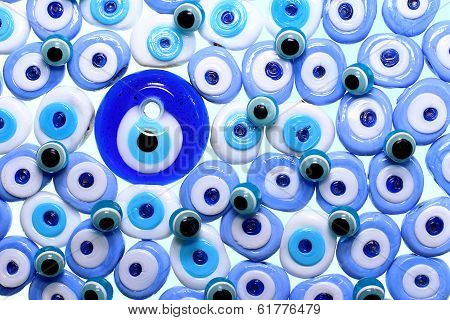 Evil Eye Amulets With Isolated White Background