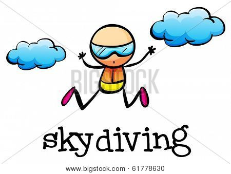 Illustration of a stickman skydiving on a white background