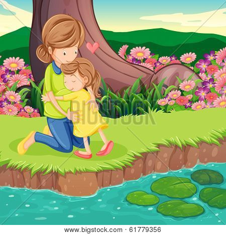 Illustration of a mother hugging her daughter at the riverbank