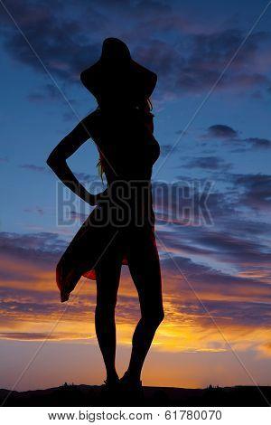 Silhouette Woman Dress Sun Hat Skirt Blow
