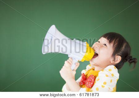 Cute Child  Using A Megaphone