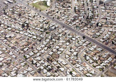 aerial view of neighborhood in Phoenix, Arizona