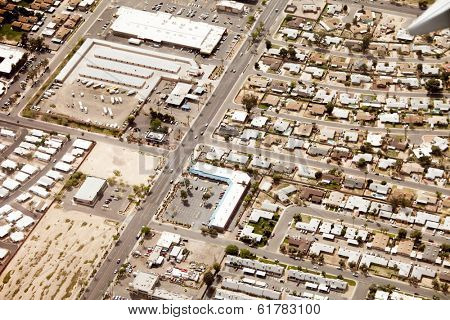 aerial view of mixed-use residential and commercial area of Phoenix, Arizona