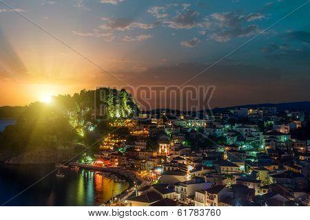 The village of Parga in Epirus Greece at night