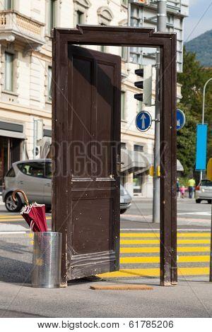old door opened in the city, surreal scene