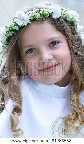 First Communion smiling girl - portrait