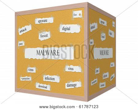 Malware 3D Cube Corkboard Word Concept