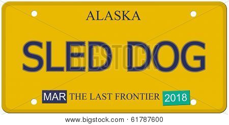 Sled Dog Alaska License Plate