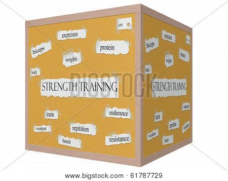 Strength Training 3D Cube Corkboard Word Concept