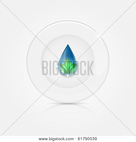 White Plate With Blue Drop And Green Leaves
