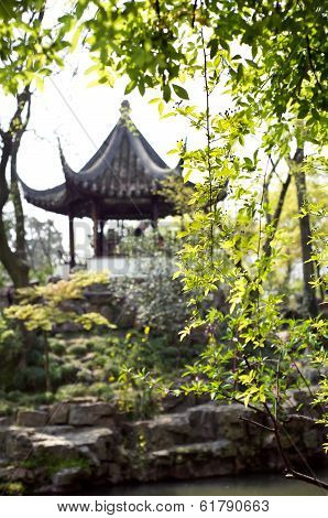 Traditional Chinese Pavilion In The Humble Administrator's Garden, Suzhou, China