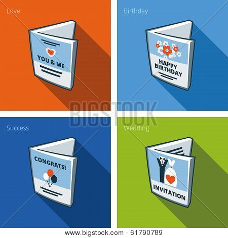Greeting Card Icons Set In Cartoon Style