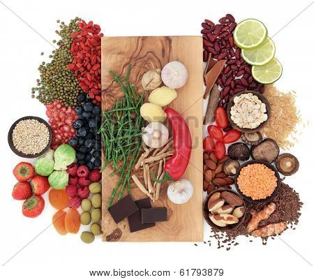 Superfood health food selection over white background.