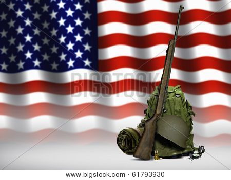 Military Equipment And American Flag