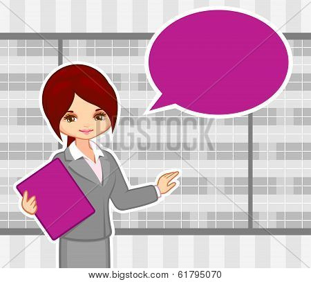 vector illustration of the girl at office