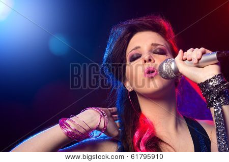 Pop Star Singing On Stage