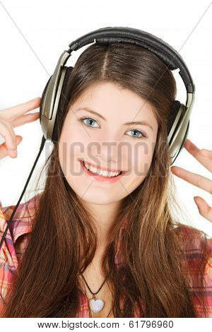 a portrait of smiling girl in headsets, that holds them hands