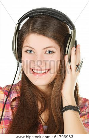 a portrait of smiling girl is in headsets