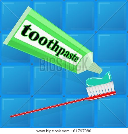 spread toothpaste on the brush