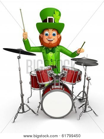 leprechaun for patrick's day with musical instrument