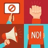 image of stop fighting  - Vector protest signs and icons in flat style - JPG